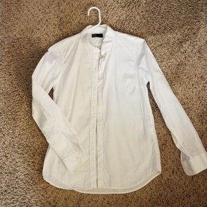 White semi fitted button down